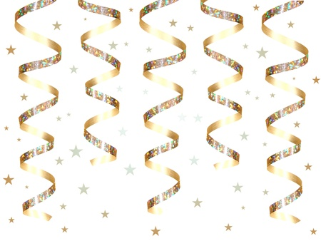 Hanging gold party ribbon and confetti Stock Photo - 9181710