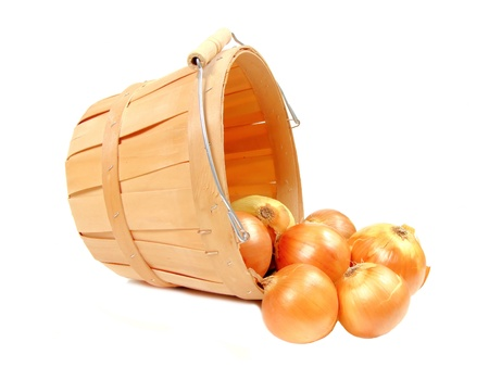 erntekorb: Zwiebeln in einem h�lzernen Ernte-Korb