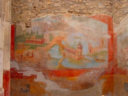 fresco: Ancient fresco in Pompei Stock Photo