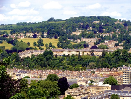 residencial: Aerial view of the Royal Crescent, Bath, England Stock Photo