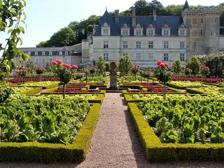 chateau: Gardens of the Chateau de Villandry, France Stock Photo