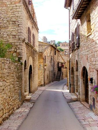 Quaint street in Assisi, Umbria, Italy photo
