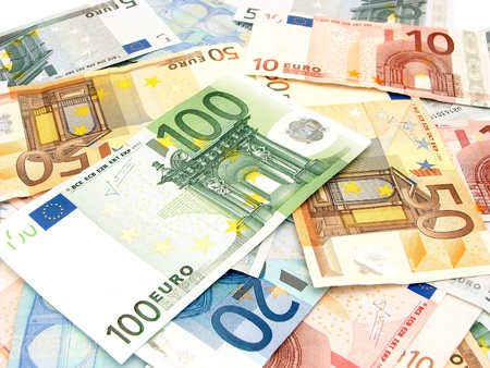 20 euro: Background of various scattered Euro currency bills Stock Photo