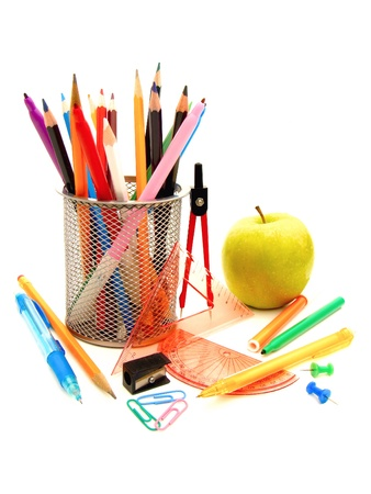 learning materials: Collection of various school supplies on a white background Stock Photo