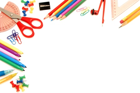 crayon  scissors: Corner border of awide range of school supplies on a white background Stock Photo