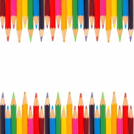 色鉛筆のカラフルな両刃の境界線