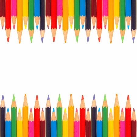 back to school: Colorful double-edged border of colored pencils Stock Photo