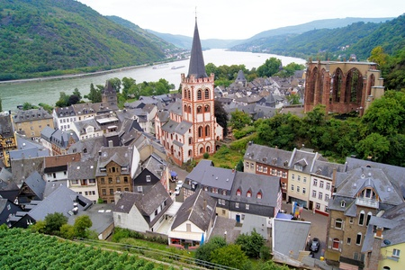 rhine: View over the quaint town of Bacharach along the famous Rhine River in Germany
