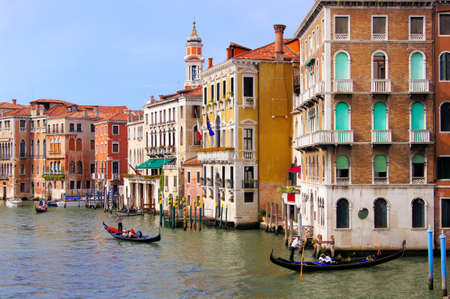 View of the palaces lining the Grand Canal seen from Rialto Bridge, Venice, Italy