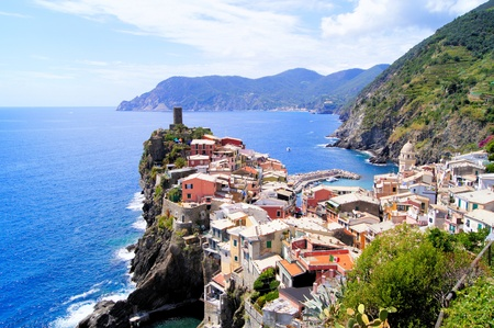 Scenic view of the village of Vernazza, one of the Cinque Terre on the Italian coast photo