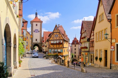 half timbered: Classic view of Rothenburg ob der Tauber, Germany