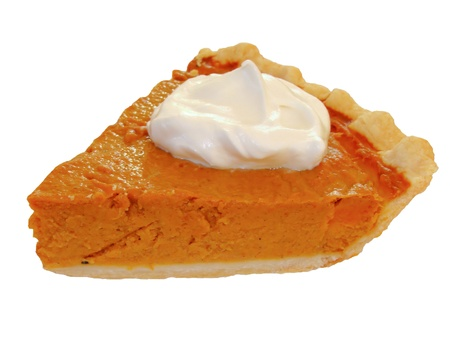 cream pie: Isolated slice of pumkin pie