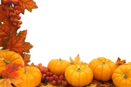 Grens van de herfst bladeren en pompoenen op witte