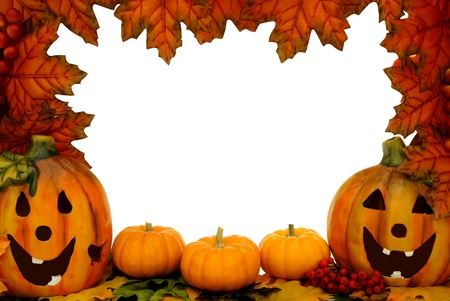 Halloween border over white with leaf frame, jack o lanterns and pumpkins photo