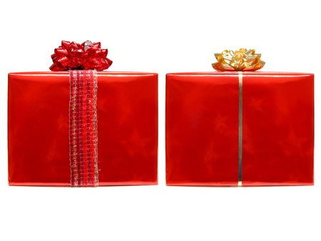 Two red isolated wrapped gifts with bows and ribbon photo