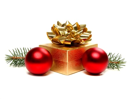 Gold Christmas Gift Box with Bow and Baubles  photo