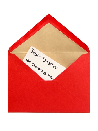 Written Christmas Letter to Santa in a Red envelope isolated on white