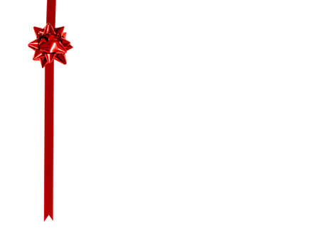 christmas wrapping: Red Gift Bow and Ribbon Border on a white background