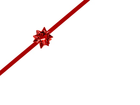 diagonal: Small Red Gift Bow and Ribbon on a white background - diagonal