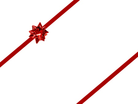 Small Red Gift Bow and Ribbon - double stripped diagonal orientation  photo