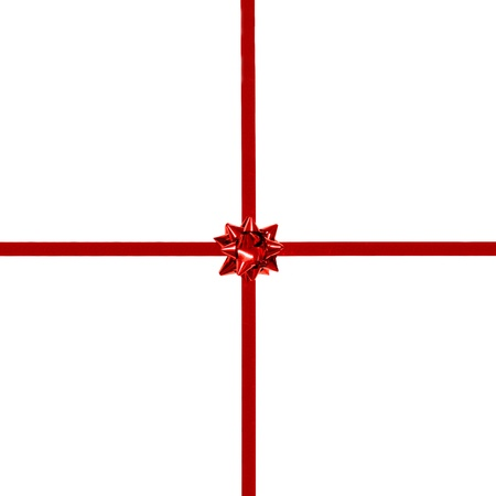 centered: Small Red Gift Bow and Ribbon on white - centered, square orientation