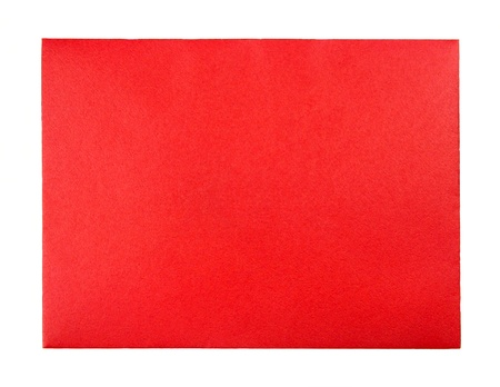 Blank Red Greeting Card Envelope over white Stock Photo
