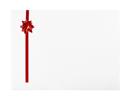 White Greeting Card envelope with Red Bow and room for text photo