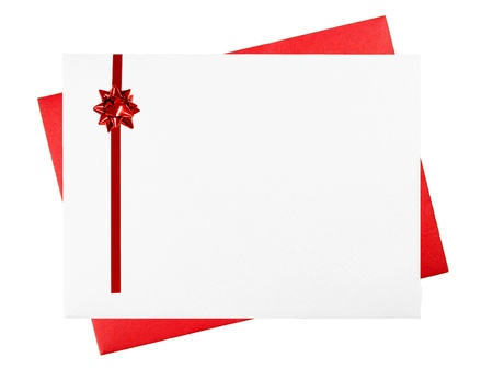 post: Blank White and Red Greeting Card Envelopes with Red Bow Stock Photo