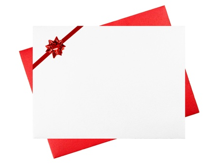 greeting season: Blank White and Red Greeting Card Envelopes with Red Bow Stock Photo