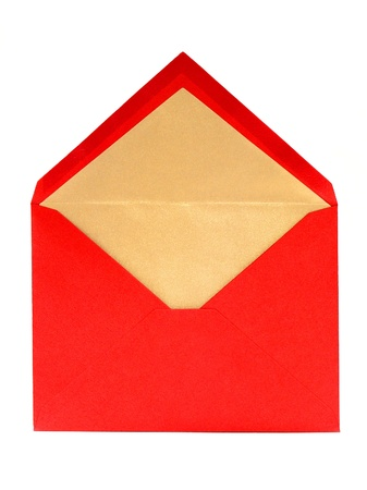 Blank, Red, Opened Greeting Card Envelope over white Stock Photo