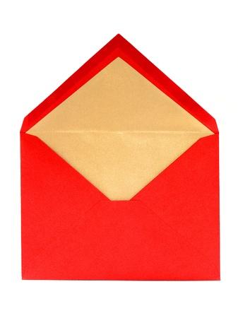 Blank, Rood, geopend Wenskaart Envelop over wit