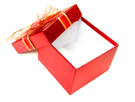 Empty, Open, Red Gift Box with Lid and Bow over white photo