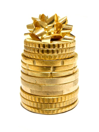 financial item: Holiday Spending - Stack of Coins with Gift Bow on top