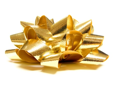 golden ribbon: Gold Gift Bow - side view on a white background