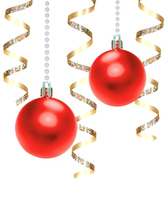 Hanging Red Christmas Baubles and Gold Ribbon over white Archivio Fotografico