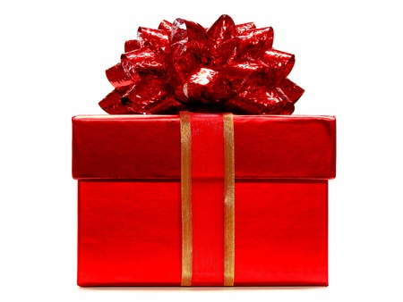 wrapped present: Red Gift Box with lid and Red Bow on a white background Stock Photo