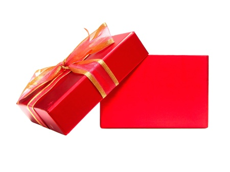 Empty Red Gift Box with lid and bow on a white background photo