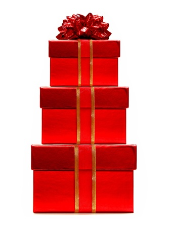 three presents: Red Christmas Gifts Stacked - with ribbon and bow Stock Photo