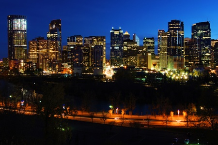Night view of the modern cityscape of Calgary, Canada photo