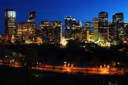 calgary: Night view of the modern cityscape of Calgary, Canada Stock Photo