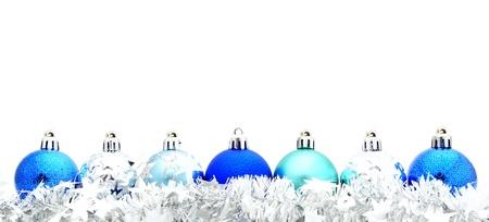 slingers: Blauwe kerstbal grens met zilver krans