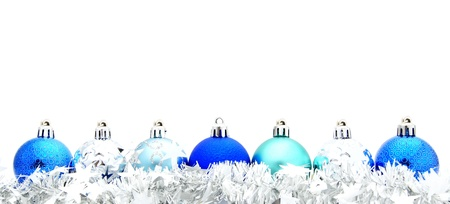 Blue Christmas bauble border with silver garland photo