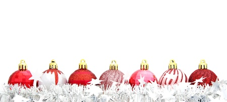 Red Christmas bauble border with silver garland Stock Photo - 11169813
