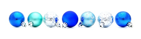 Blue Christmas Bauble border over white photo