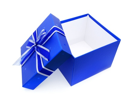 open gift box: Opened Blue Gift Box with lid and ribbon over white