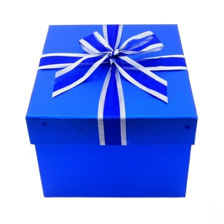 Single Blue Gift Box with Ribbon Isolated on white photo