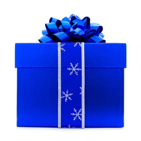Blue Christmas Gift Box with blue Bow and Ribbon