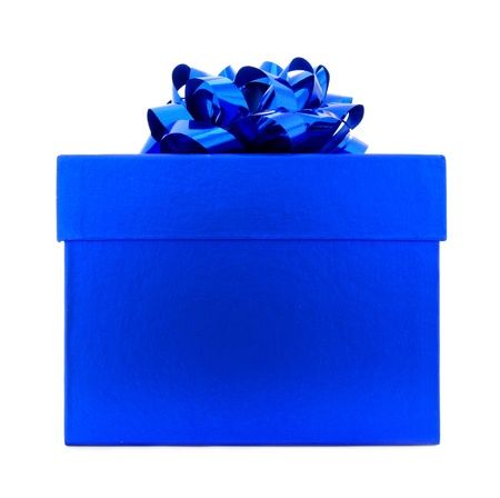 traditional gifts: Single Bright Blue Gift Box with Bow Isolated on white