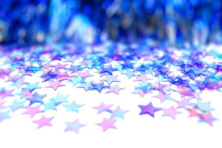 Blauwe kerstster achtergrond met selectieve focus Stockfoto