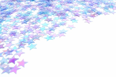Blue star confetti New Years Eve or winter border Stock Photo